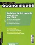 Christian Noyer et  OCDE - Problèmes économiques N° 2 860, Octobre 20 : Le bilan de l'économie mondiale en 2003.