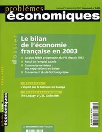 Gilles Pison - Problèmes économiques N° 2858 : Le bilan de l'éconbomie française en 2003.