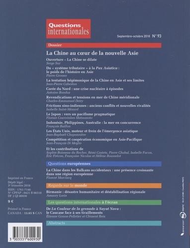 Questions internationales N° 93, septembre-oct La Chine au coeur de la nouvelle Asie
