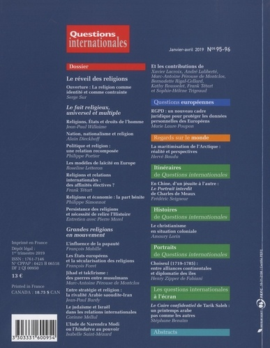 Questions internationales N° 95-96, janvier-av Le réveil des religions