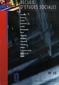 INSEE - Recueil d'études sociales N° 35 : Septembre à Décembre 2005.