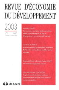 Alexander Sarris et Jean-Marc Montaud - Revue d'économie du développement 2003/1 : .