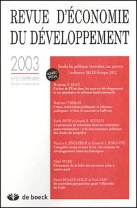 Mushtaq-H Khan et Mariano Tommasi - Revue d'économie du développement N° 2-3 septembre 200 : Rendre les politiques favorables aux pauvres - Conférence ABCDE-Europe 2002.