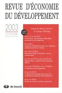 Patrick Guillaumont et Elliot Berg - Revue d'économie du développement N° 4 décembre 2003 : Analyser les relations Nord-Sud.