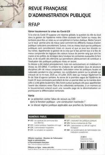 Revue française d'administration publique N° 176/2020 Gérer localement la crise du Covid-19