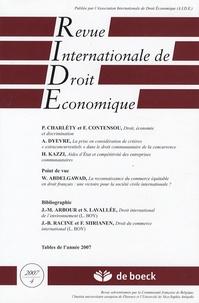 Patricia Charléty et François Contensou - Revue Internationale de Droit Economique Tome 21 N° 4/2007 : .