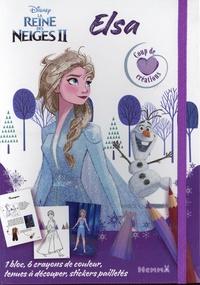 Disney - La Reine des Neiges II Elsa - Avec 1 bloc, 6 crayons de couleur, tenues à découper, stickers pailletés.