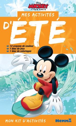 Disney - Mes activités d'été Mickey et ses amis - Avec 12 crayons de couleur, 1 bloc de jeux, 1 bloc de coloriages.