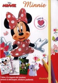 Disney - Minnie - Avec 1 bloc, 6 crayons de couleur, tenues à découper, stickers pailletés.