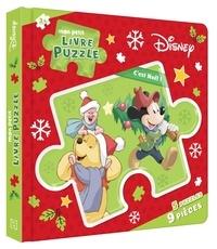Disney - Mon petit livre puzzle Disney C'est Noël ! - 5 puzzles, 9 pièces.