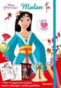 Disney - Mulan - Avec 1 bloc, 6 crayons de couleur, des tenues à découper, des stickers pailletés.