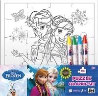 Disney - Puzzle set créatif La Reine des Neiges - Avec 1 puzzle à colorier et 4 crayons gras.