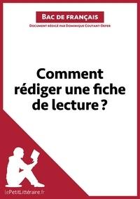 Dominique Coutant-Defer - Comment rédiger une fiche de lecture ?.