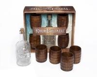 Dominique Foufelle - Rhum corsaire - L'apéro des pirates - Coffret avec 4 verres-tonneaux en bois et 1 bouteille tête de mort en verre.