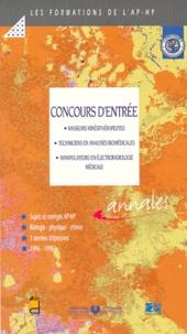 Douin - CONCOURS D'ENTREE. - Masseurs kinésithérapeutes, Techniciens en analyses biomédicales, Manipulateurs en électroradiologie médicale, Sujets et corrigés 1996-1998.