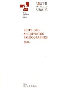 Ecole nationale des Chartes - Liste des archivistes paléographes 2016.