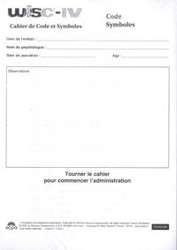 David Wechsler - WISC-IV Echelle d'intelligence de Weschler pour enfants et adolescents - Cahier de code et symboles, paquet de 25 exemplaires.