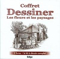 Edigo - Coffret Dessiner les fleurs et les paysages - 2 livres + le kit à dessin complet.