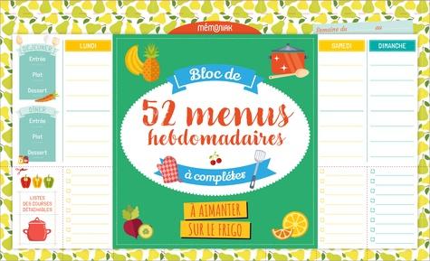 Bloc de 52 menus hebdomadaires à compléter à aimanter sur le frigo  Edition 2021