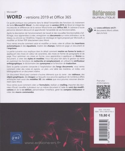 Word versions 2019 et Office 365