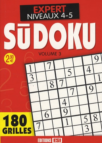 Editions ESI - Sudoku - Tome 3, Expert Niveaux 4-5.