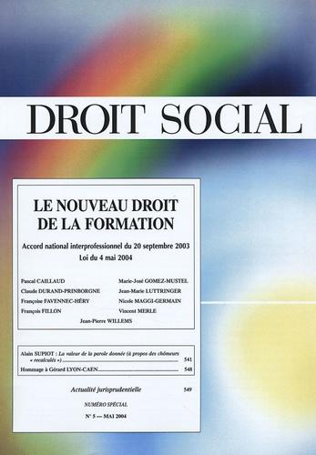 Jean-Jacques Dupeyroux et Jean-Marie Luttringer - Droit Social N° 5, Mai 2004 : Le nouveau droit de la formation.
