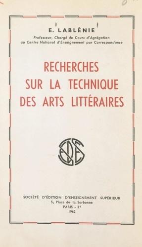 Recherches sur la technique des arts littéraires