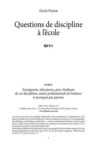 Questions de discipline à l'école et ailleurs