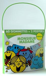 Elcy - Monsieur Madame animaux - 60 gommettes repositionnables et 2 posters.
