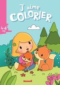 Elen Lescoat - J'aime colorier Petite fille et renards.