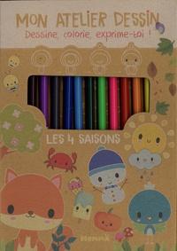 Elen Lescoat - Mon atelier dessin Les 4 saisons - Avec 1 bloc créatif, 11 crayons de couleur, 1 crayon gris de dessin, 1 taille-crayon, 1 gomme.