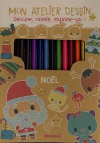 Elen Lescoat - Mon atelier dessin Noël - Avec 1 bloc créatif, 11 crayons de couleur, 1 crayon gris de dessin, 1 taille-crayon, 1 gomme.
