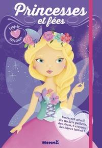 Elen Lescoat - Princesses et fées - Avec un carnet créatif, des stickers pailletés, des strass, 6 cayons, des bijoux tattoos.