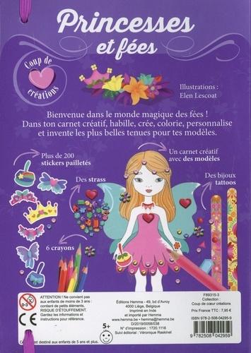 Princesses et fées. Avec un carnet créatif, des stickers pailletés, des strass, 6 cayons, des bijoux tattoos