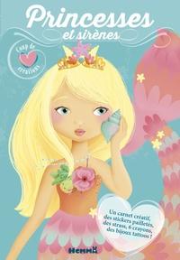 Elen Lescoat - Princesses et sirènes - Avec un carnet créatif, des stickers pailletés, des strass, 6 cayons, des bijoux tattoos.