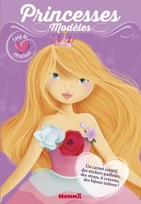 Elen Lescoat - Princesses modèles - Contient : 1 carnet créatif, des stickers pailletés, des strass, 6 cayons, des bijoux tattoos.