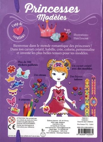 Princesses modèles. Contient : 1 carnet créatif, des stickers pailletés, des strass, 6 cayons, des bijoux tattoos