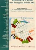Eléonore Samson et Laure Modesti - Application de la loi NRE dans les rapports annuels de 2002 - Etude comparative sur la transparence et la pertinence des informations sociales et environnementales.