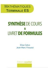 Elisa Calvo et Jean-Marc Fitoussi - Mathématiques Tle ES - Synthèse de cours & livret de formules.