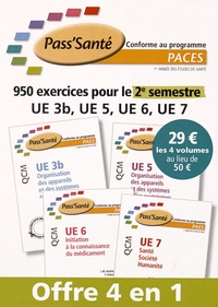 Elsevier Masson - 950 exercices pour le 2e semestre UE 3b, UE 5, UE 6, UE 7 - 4 volumes.