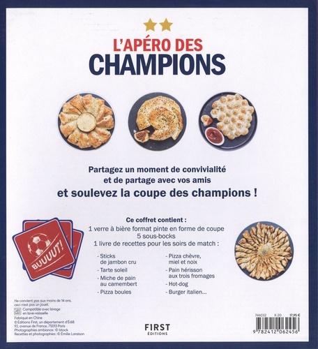 Coffret L'apéro des champions. Le livre Gros apéro pour grand match, les recettes spéciales avec 1 verre à bierre format pinte et 5 sous-bocks