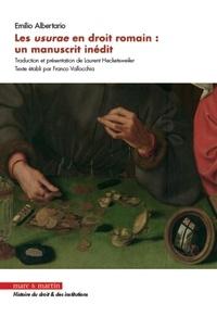 Emilio Albertario - Les usurae en droit romain : un manuscrit inédit.