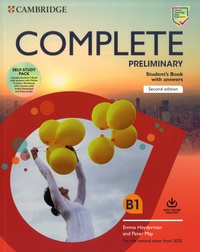 Emma Heyderman et Peter May - Complete Preliminary Self Study Pack B1 - Student's Book with answers ; Workbok with answers.