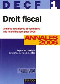 Corridashivernales.be Droit fiscal DECF 1 - Annales 2006, corrigés commentés Image