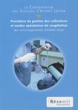 Emmanuel Jamet - La Conservation des souches d'intérêt laitier - Procédure de gestion des collections et modes opératoires de congélation des microorganismes d'intérêt laitier.