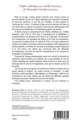 L'église catholique aux Antilles françaises de Christophe Colomb à nos jours. De la catholicisation à l'évangélisation