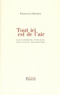 Emmanuel Kremer - Tout ici est de l'air - La terre aride du poème. Un r^ve, des rives. Tout ici est de l'air. Mon Gustave Roud.