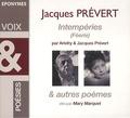 Jacques Prévert et  Arletty - Imtempéries (Féérie). 1 CD audio