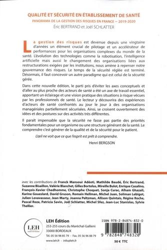 Qualité et sécurité en établissement de santé. Panorama de la gestion des risques en France  Edition 2019-2020