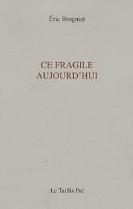 Eric Brogniet - Ce fragile aujourd'hui.